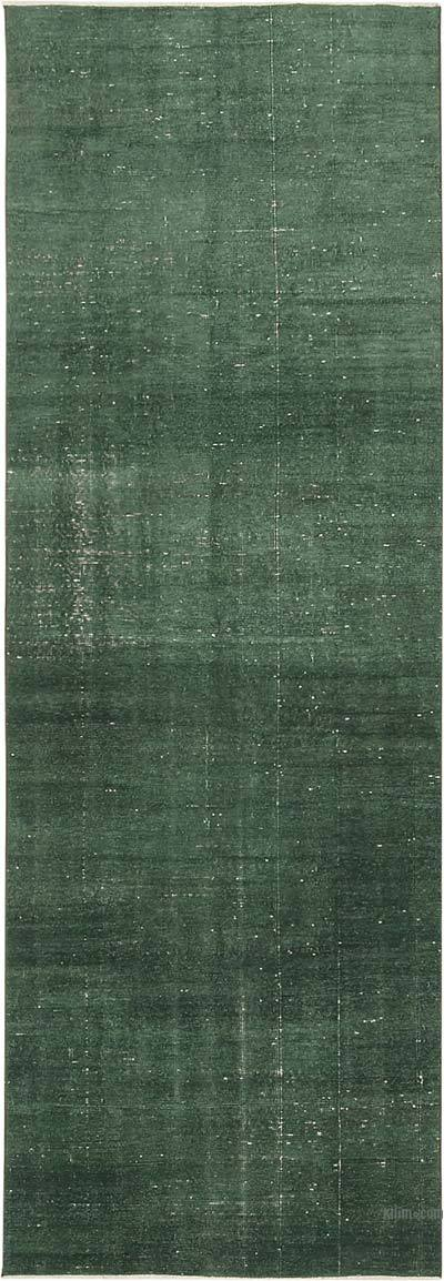 "Green Over-dyed Turkish Vintage Runner Rug - 3' 4"" x 9' 6"" (40 in. x 114 in.)"