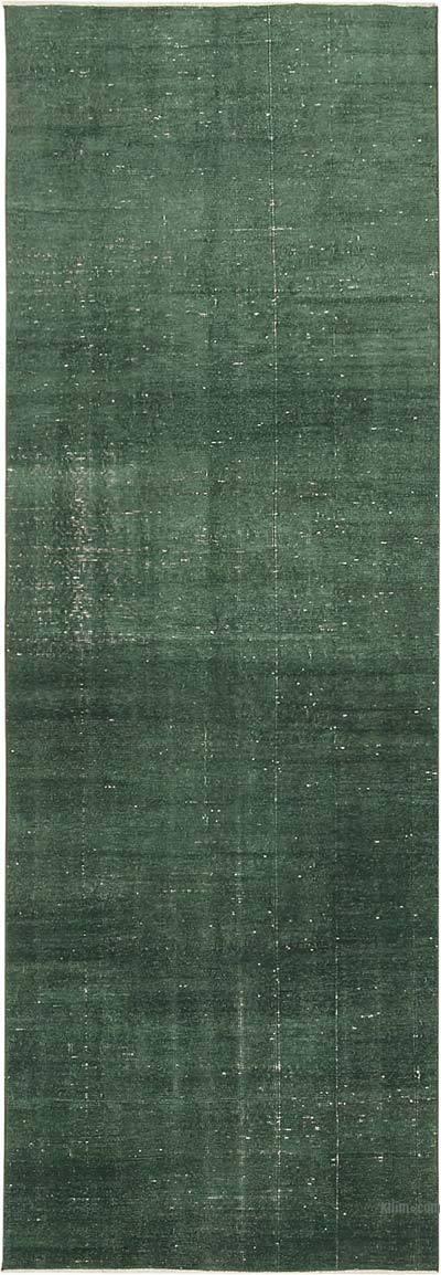 Yeşil Boyalı El Dokuma Vintage Halı Yolluk - 101 cm x 290 cm