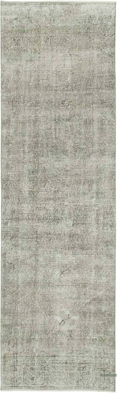 "Grey Over-dyed Turkish Vintage Runner Rug - 2' 11"" x 9' 11"" (35 in. x 119 in.)"