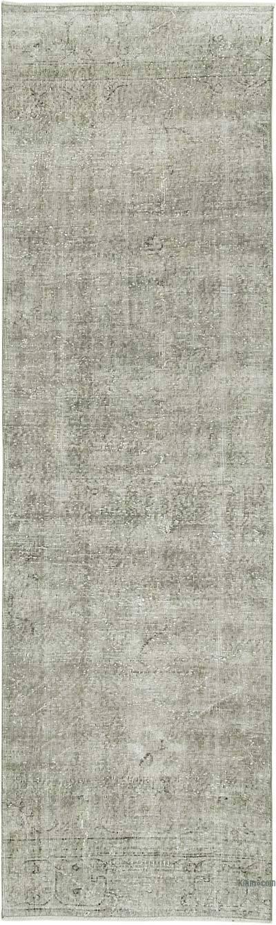 Gri Boyalı El Dokuma Vintage Halı Yolluk - 90 cm x 302 cm
