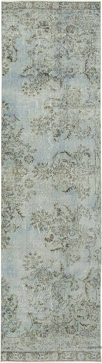 Lacivert Boyalı El Dokuma Vintage Halı Yolluk - 90 cm x 328 cm