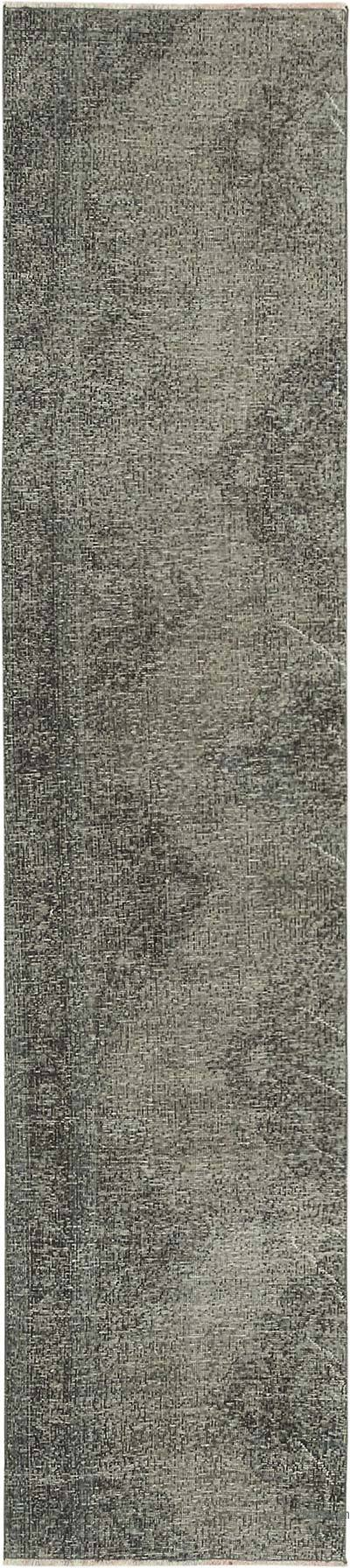 "Grey Over-dyed Turkish Vintage Runner Rug - 2' 5"" x 11'  (29 in. x 132 in.)"