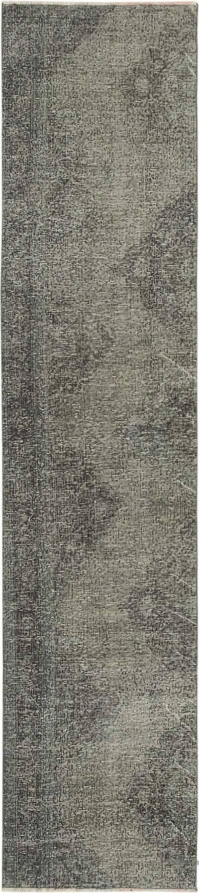 Gri Boyalı El Dokuma Vintage Halı Yolluk - 74 cm x 336 cm