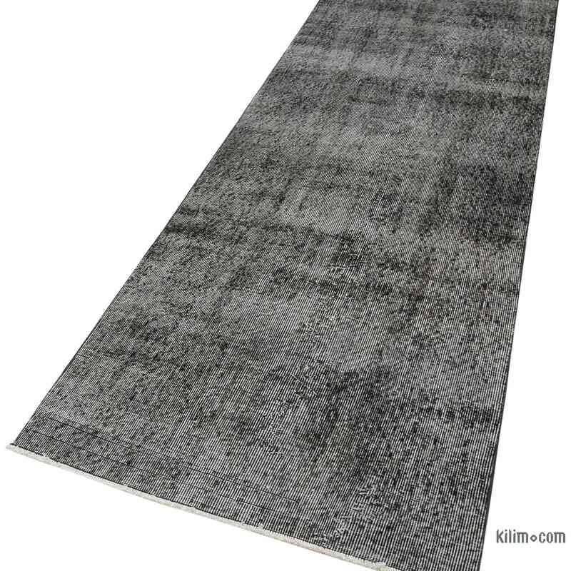 "Black Over-dyed Turkish Vintage Runner Rug - 3'  x 9' 6"" (36 in. x 114 in.) - K0054597"