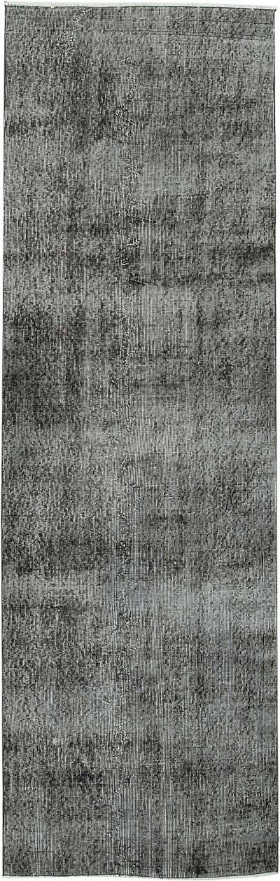 "Black Over-dyed Turkish Vintage Runner Rug - 3'  x 9' 6"" (36 in. x 114 in.)"