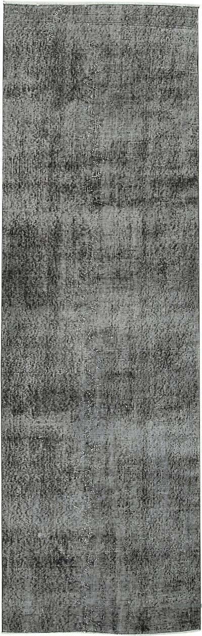 Siyah Boyalı El Dokuma Vintage Halı Yolluk - 91 cm x 290 cm