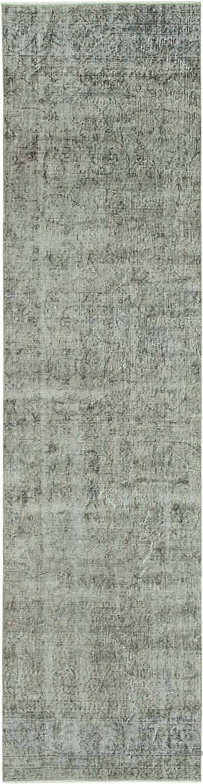 "Grey Over-dyed Turkish Vintage Runner Rug - 2' 7"" x 9' 11"" (31 in. x 119 in.)"