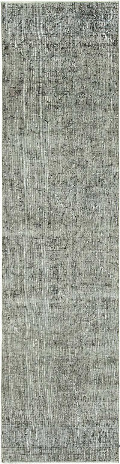 Gri Boyalı El Dokuma Vintage Halı Yolluk - 79 cm x 302 cm