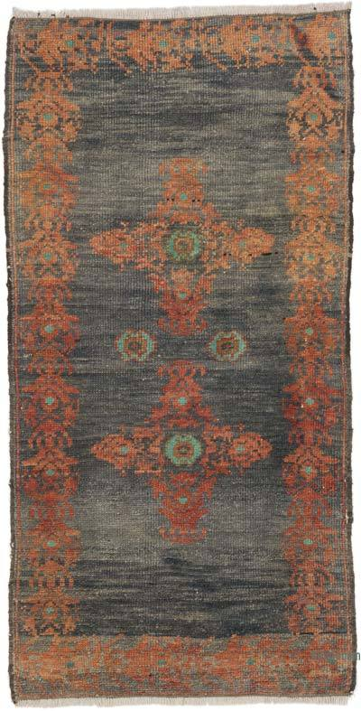"""Vintage Turkish Hand-Knotted Rug - 1' 10"""" x 3' 7"""" (22 in. x 43 in.)"""
