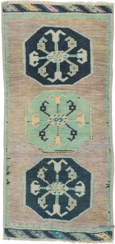 """Vintage Turkish Hand-Knotted Rug - 1' 5"""" x 3'  (17 in. x 36 in.)"""