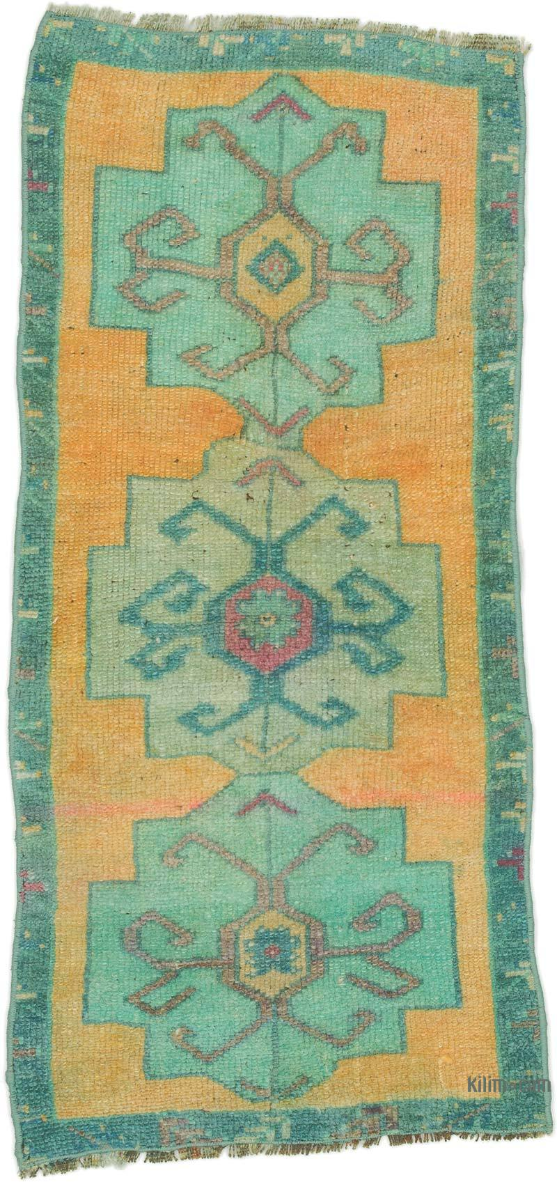 """Vintage Turkish Hand-Knotted Rug - 1' 7"""" x 3' 3"""" (19 in. x 39 in.) - K0054639"""