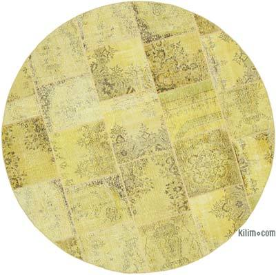 """Yellow Round Patchwork Hand-Knotted Turkish Rug - 8' 1"""" x 8' 1"""" (97 in. x 97 in.)"""