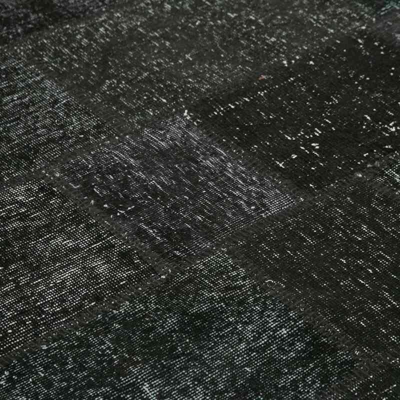 "Black Round Patchwork Hand-Knotted Turkish Rug - 8' 1"" x 8' 1"" (97 in. x 97 in.) - K0054693"
