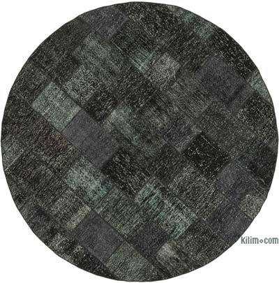 "Black Round Patchwork Hand-Knotted Turkish Rug - 8' 1"" x 8' 1"" (97 in. x 97 in.)"
