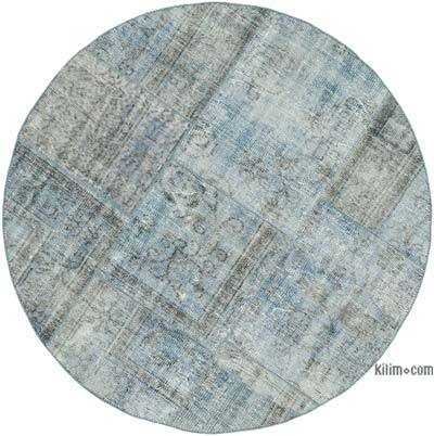 Blue Round Patchwork Hand-Knotted Turkish Rug - 5'  x 5'  (60 in. x 60 in.)