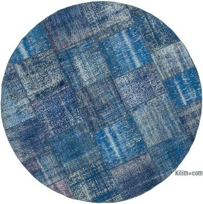 Blue Round Patchwork Hand-Knotted Turkish Rug - 8'  x 8'  (96 in. x 96 in.)