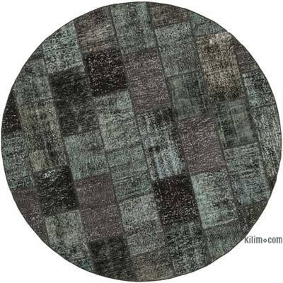 Negro Alfombra De Retazos Turca Sobre-Teñida - 214 cm x 214 cm