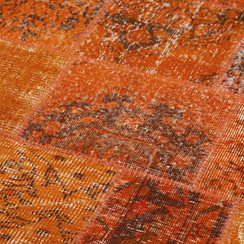 """Orange Round Patchwork Hand-Knotted Turkish Rug - 7' 1"""" x 7' 1"""" (85 in. x 85 in.) - K0054704"""
