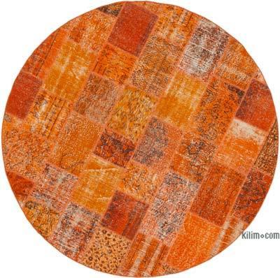 """Orange Round Patchwork Hand-Knotted Turkish Rug - 7' 1"""" x 7' 1"""" (85 in. x 85 in.)"""
