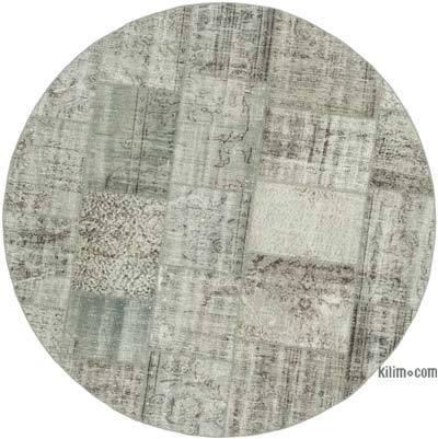 Gri Yuvarlak Boyalı Patchwork Halı - 200 cm x 200 cm