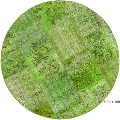 """Green Round Patchwork Hand-Knotted Turkish Rug - 4' 11"""" x 4' 11"""" (59 in. x 59 in.)"""