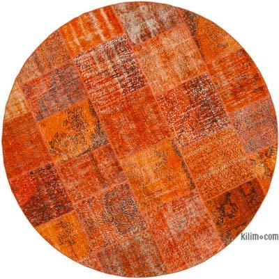 """Orange Round Patchwork Hand-Knotted Turkish Rug - 7' 11"""" x 7' 11"""" (95 in. x 95 in.)"""