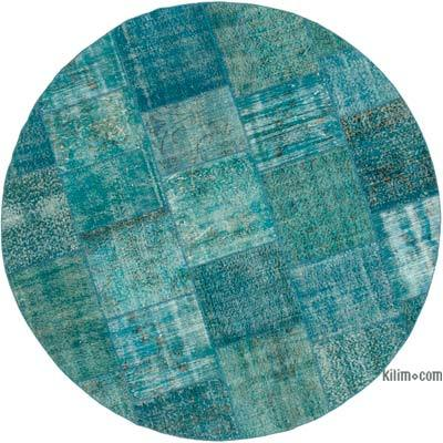 Aqua Round Patchwork Hand-Knotted Turkish Rug - 8'  x 8'  (96 in. x 96 in.)