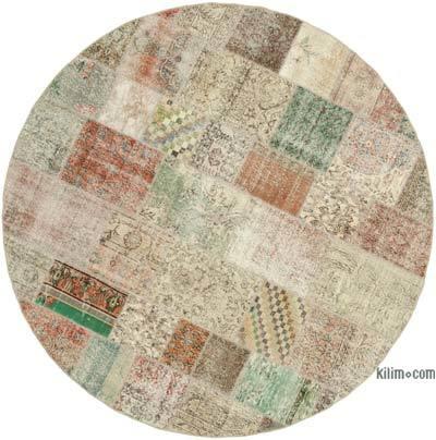 Çok Renkli Yuvarlak Boyalı Patchwork Halı - 246 cm x 246 cm