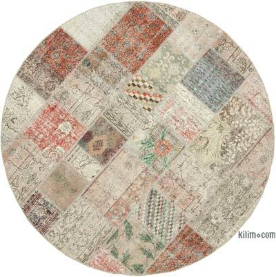 "Multicolor Round Patchwork Hand-Knotted Turkish Rug - 7' 1"" x 7' 1"" (85 in. x 85 in.)"