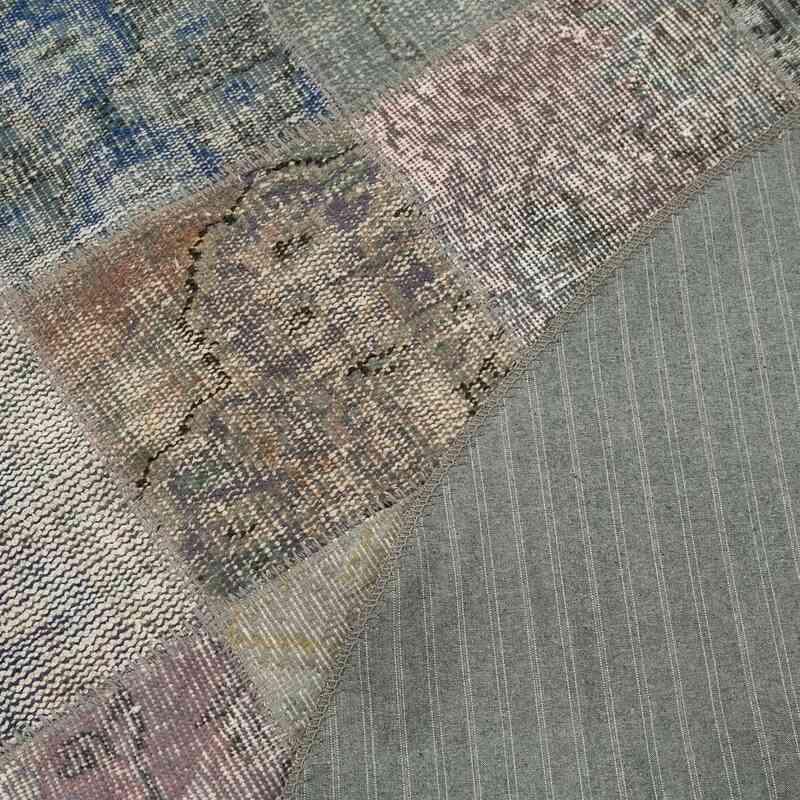 Gri Yuvarlak Boyalı Patchwork Halı - 203 cm x 203 cm - K0054715