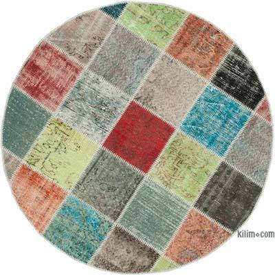"""Multicolor Round Patchwork Hand-Knotted Turkish Rug - 4' 9"""" x 4' 9"""" (57 in. x 57 in.)"""