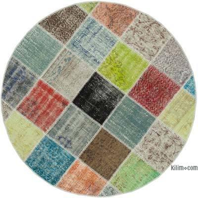 Multicolor Alfombra De Retazos Turca Sobre-Teñida - 146 cm x 146 cm