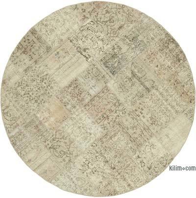 Bej Yuvarlak Boyalı Patchwork Halı - 215 cm x 215 cm