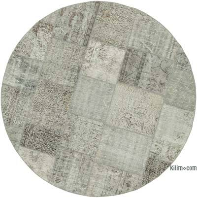 """Grey Round Patchwork Hand-Knotted Turkish Rug - 6' 7"""" x 6' 7"""" (79 in. x 79 in.)"""