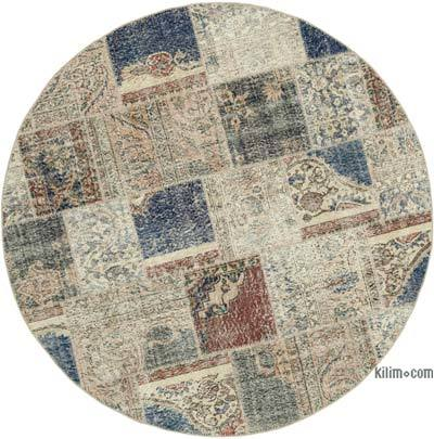 """Multicolor Round Patchwork Hand-Knotted Turkish Rug - 6' 4"""" x 6' 4"""" (76 in. x 76 in.)"""