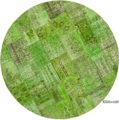 Yeşil Yuvarlak Boyalı Patchwork Halı - 246 cm x 246 cm
