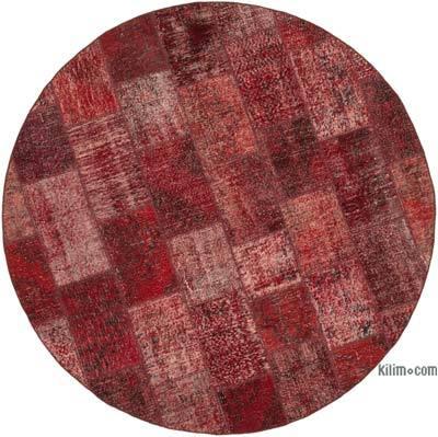 Kırmızı Yuvarlak Boyalı Patchwork Halı - 215 cm x 215 cm