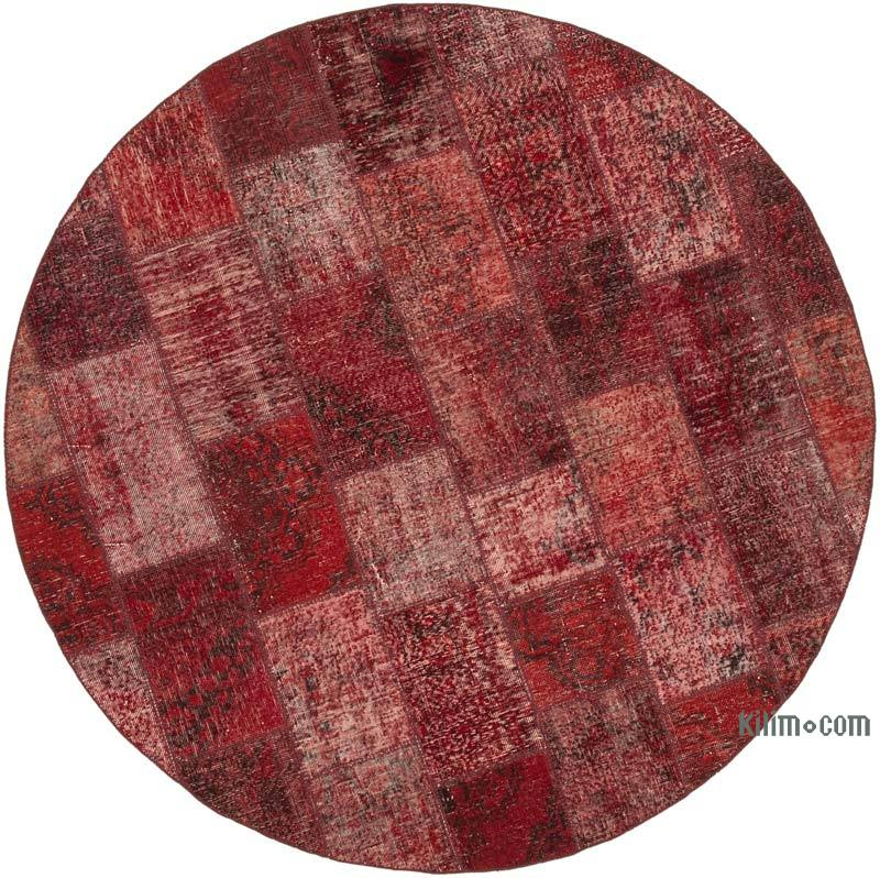 """Red Round Patchwork Hand-Knotted Turkish Rug - 7' 1"""" x 7' 1"""" (85 in. x 85 in.) - K0054730"""