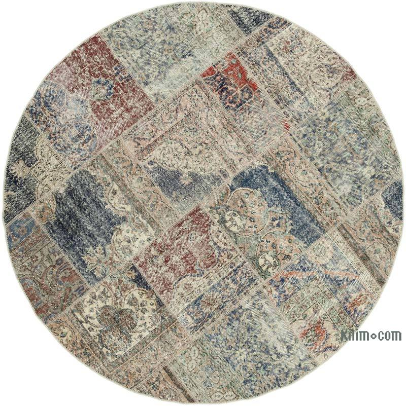 """Multicolor Round Patchwork Hand-Knotted Turkish Rug - 6' 8"""" x 6' 8"""" (80 in. x 80 in.) - K0054732"""