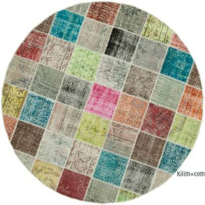 Çok Renkli Yuvarlak Boyalı Patchwork Halı - 202 cm x 202 cm