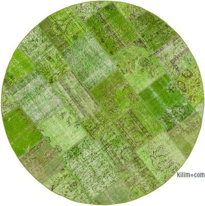 Yeşil Yuvarlak Boyalı Patchwork Halı - 218 cm x 218 cm