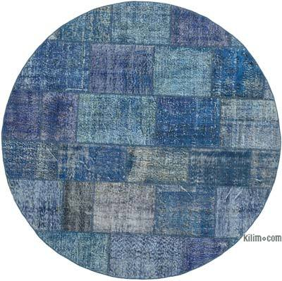 Blue Round Patchwork Hand-Knotted Turkish Rug - 7'  x 7'  (84 in. x 84 in.)