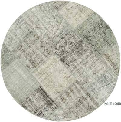 Gris Alfombra De Retazos Turca Sobre-Teñida - 150 cm x 150 cm