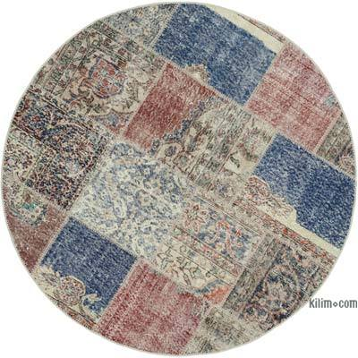 """Multicolor Round Patchwork Hand-Knotted Turkish Rug - 4' 11"""" x 4' 11"""" (59 in. x 59 in.)"""