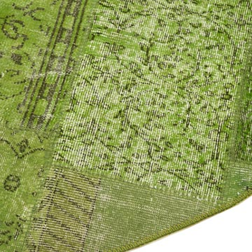 """Green Round Patchwork Hand-Knotted Turkish Rug - 7' 2"""" x 7' 2"""" (86 in. x 86 in.) - K0054745"""