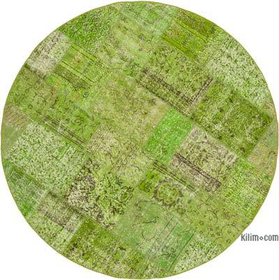 """Green Round Patchwork Hand-Knotted Turkish Rug - 7' 2"""" x 7' 2"""" (86 in. x 86 in.)"""
