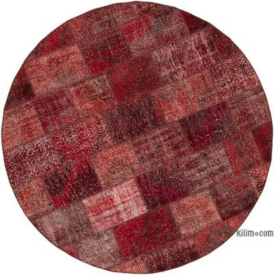 """Red Round Patchwork Hand-Knotted Turkish Rug - 7' 1"""" x 7' 1"""" (85 in. x 85 in.)"""
