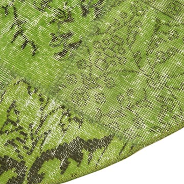"""Green Round Patchwork Hand-Knotted Turkish Rug - 6' 7"""" x 6' 7"""" (79 in. x 79 in.) - K0054749"""