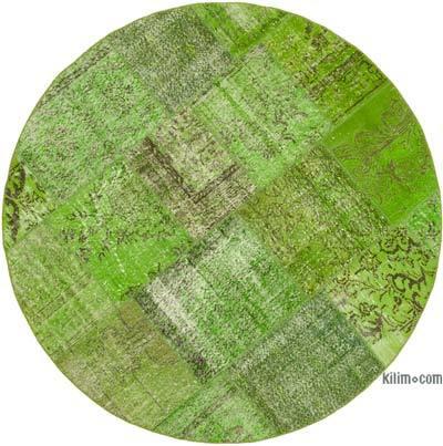Yeşil Yuvarlak Boyalı Patchwork Halı - 200 cm x 200 cm