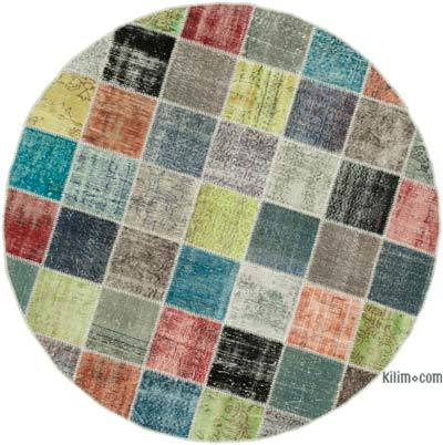 """Multicolor Round Patchwork Hand-Knotted Turkish Rug - 6' 8"""" x 6' 8"""" (80 in. x 80 in.)"""
